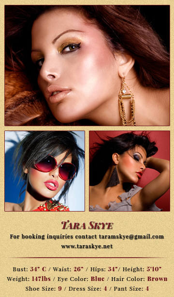 Tara Skye's comp card back - SN Advertising